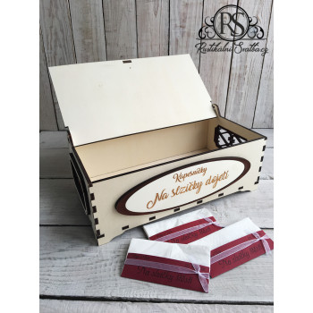 Dřevěná krabička na kapesníčky velká - slzičky štěstí a slzičky dojetí
