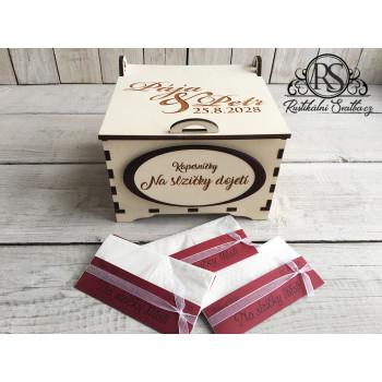Dřevěná krabička na kapesníčky malá - slzičky štěstí a slzičky dojetí