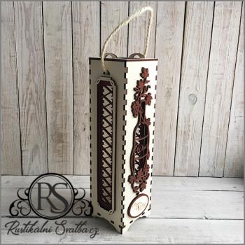 Dárková dřevěná zdobená krabička na sekt, nebo svatební víno