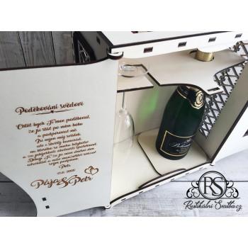 Velký dřevěný box na sekt a skleničku jako poděkování svědkovi