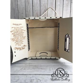 Velký dřevěný box na sekt a dvě skleničky jako poděkování rodičům - vhodný mi jako svatební dar pro novomanžele