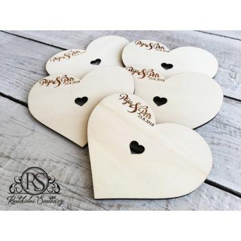 Dřevěná svatební kniha hostů - velká srdce na tyčce - 5 ks náhradních srdcí