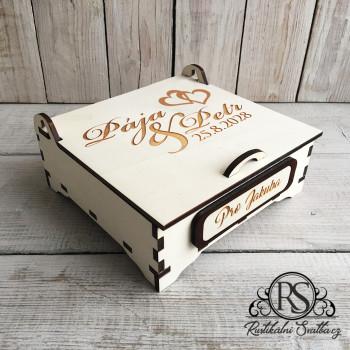 Střední dřevěná krabička pro svědka - buď mým svědkem, nebo nejlepšímu svědkovi