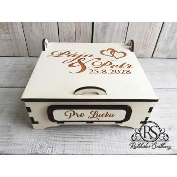 Střední dřevěná krabička pro svědkyni - buď mou svědkyní, nebo nejlepší svědkyni