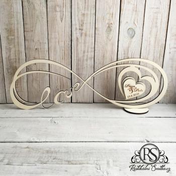 Velký dřevěný svatební stojan INFINITY - neboli nekonečná láska s motivy Vaší svatby