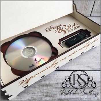 """Dřevěná krabička """"Vzpomínky na náš svatební den"""" na DVD disk a USB flash disk"""