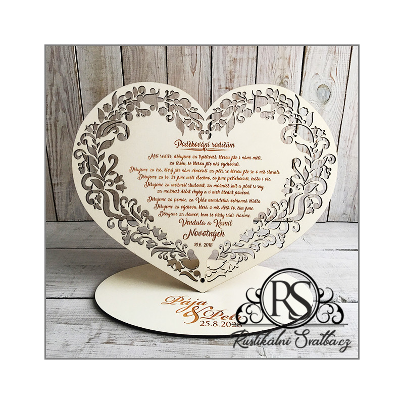 Velké dřevěné svatební srdce - poděkování rodičům