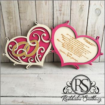 Dvě dřevěné svatební srdce - poděkování rodičům
