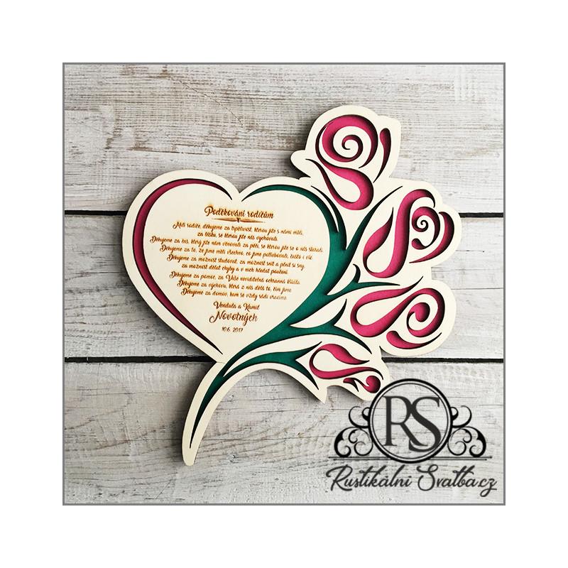 Dřevěné svatební srdce s vyřezávanými růžemi - poděkování rodičům