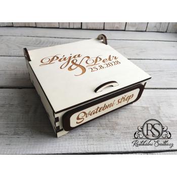 Dřevěná krabička na svatební střep