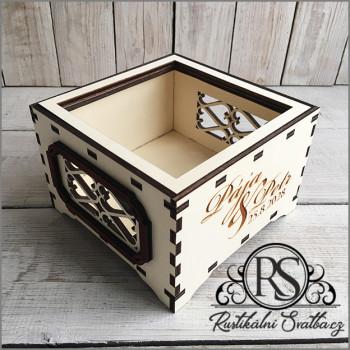Dřevěná svatební krabička bez víčka malá na cukroví, nebo cokoli jiného