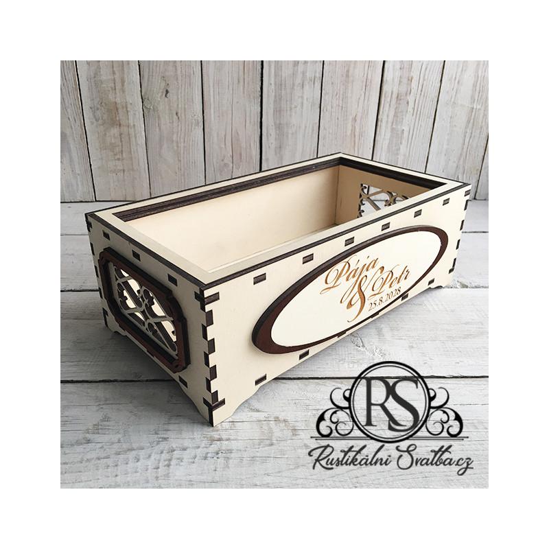 Dřevěná svatební krabička bez víčka velká na cukroví, nebo cokoli jiného