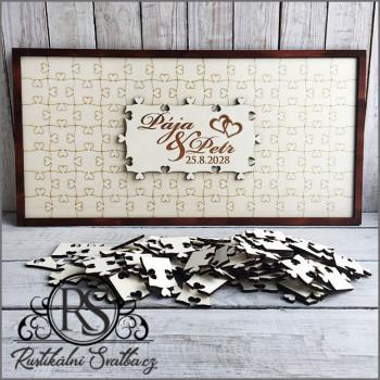 Dřevěná svatební kniha hostů - puzzle obdélník 76 dílků