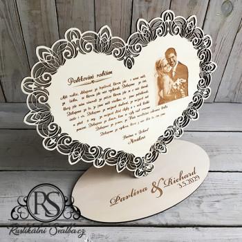 Velké dřevěné svatební srdce poděkování rodičům s fotografií i bez ní