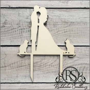 Dřevěný zápich na svatební dort s motivy siluet