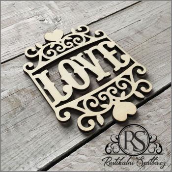 Dřevěný vyřezávaný svatební tácek s gravírováním