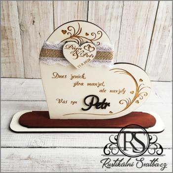 """Svatební dar pro rodiče - srdce """"Dnes ženich, zítra manžel"""""""